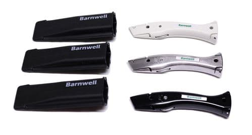 Barnwell Set of 3 White Silver Black  Dolphin Knives